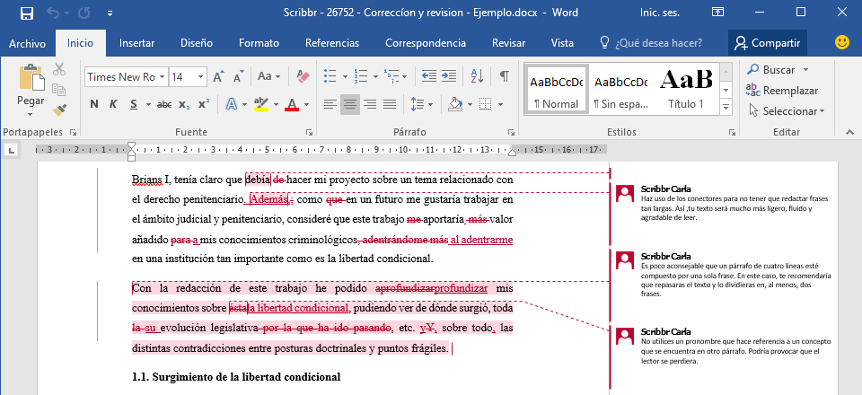 Ejemplo de un texto revisado y editado