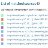 Lista de fuentes coincidentes